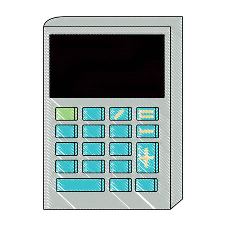 calculator icon over white background, vector illustration