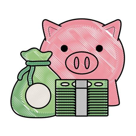 Tirelire et billets d'argent et icône de sac sur fond blanc, illustration vectorielle