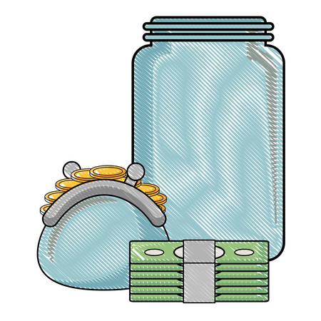 moneybox with purse and bills icon over white background, vector illustration