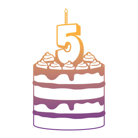 Birthday cake with number five candle icon over white background, vector illustration Stock Vector - 112369762