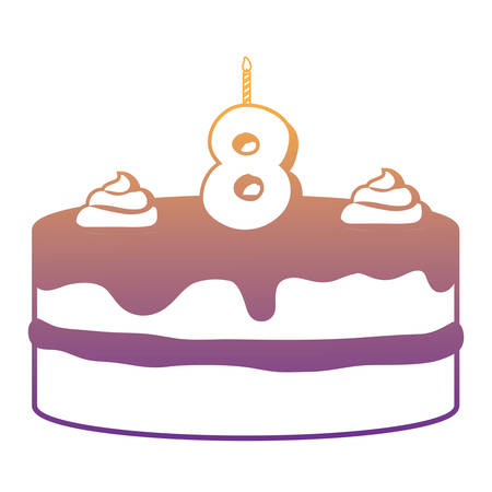 Birthday cake with number eight candle over white background, vector illustration