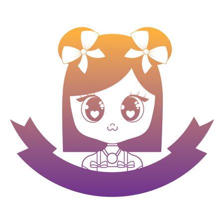 emblem with cute asian girl icon and decorative ribbon over white background, vector illustration