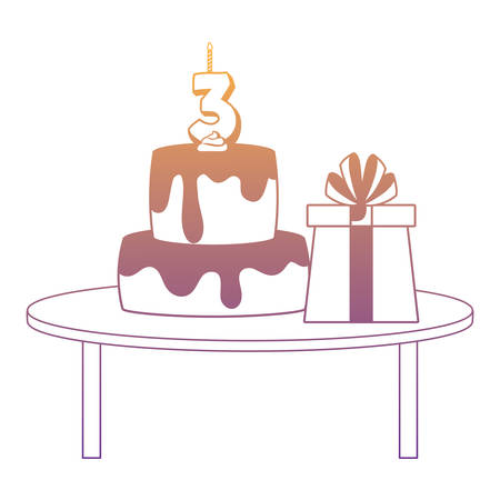 table with birthday cake and gift box over white background, vector illustration Vectores