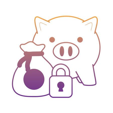 tirelire avec sac d'argent et icône de cadenas sur fond blanc, illustration vectorielle