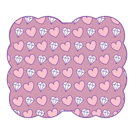 decorative frame with hearts and diamonds pattern over background, vector illustration