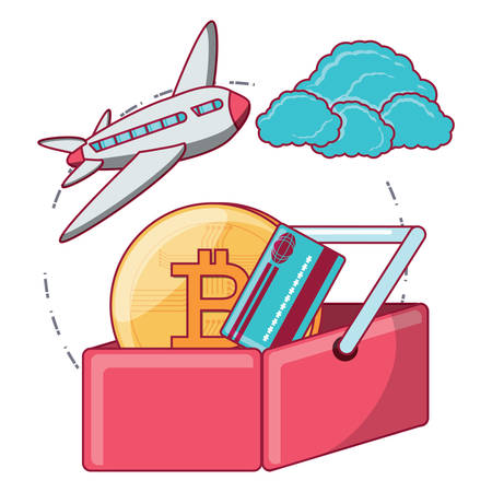 airplane and shopping basket with cryptocoins and related icons over white background, vector illustration