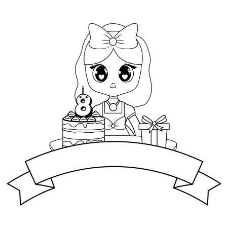Anime girl with birthday cake and decorative ribbon over white background, vector illustration