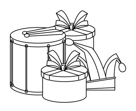 drum with gift box and jester hat over white background, vector illustration