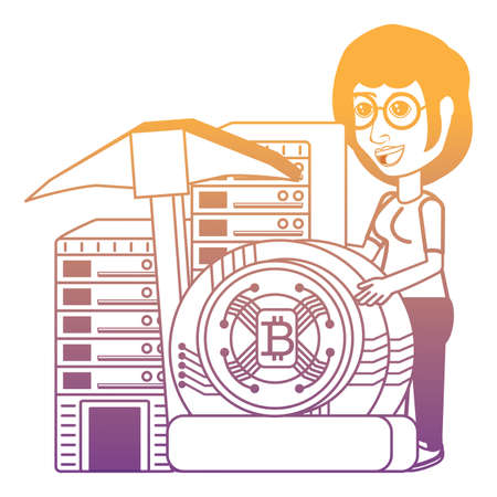 Cryptocurrency mining design with cartoon woman with database servers and bitcoin coin and pickaxe over white background, vector illustration Archivio Fotografico