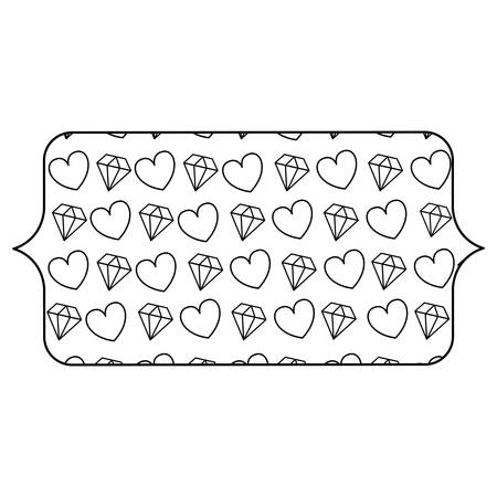 banner with hearts and diamonds pattern over background, vector illustration Illusztráció