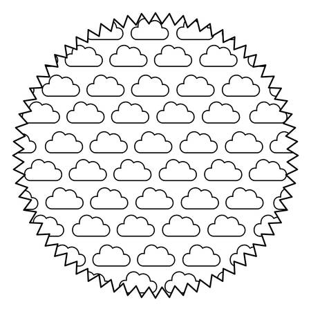 seal stamp with clouds pattern over background, vector illustration