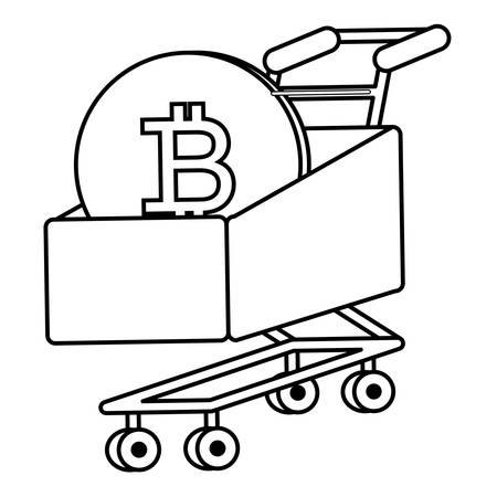 shopping cart with bitcoin coin over white background, vector illustration Illustration
