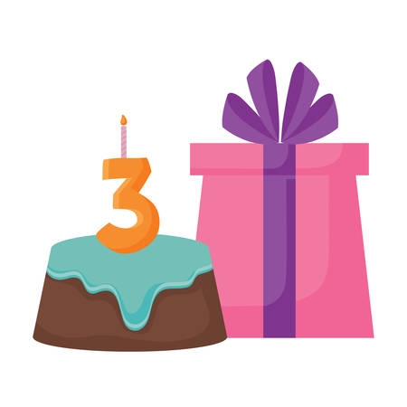 birthday cake and gift box icon over white background, vector illustration