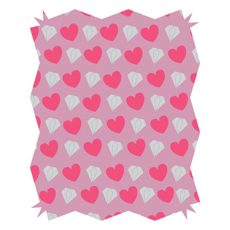 abstract frame with hearts and diamonds pattern over background, vector illustration