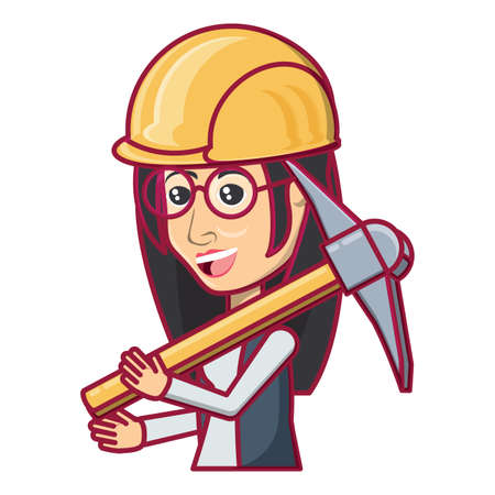 cartoon woman with safety helmet and holding a pickaxe over white background, vector illustration Archivio Fotografico