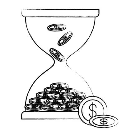 Hourglass moneybox with coins icon over white background, vector illustration Illustration
