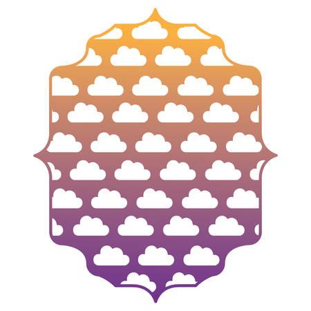 arabic frame with clouds pattern over background, vector illustration Illustration