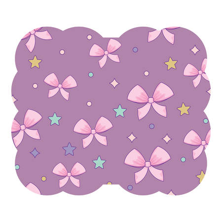 decorative frame with bows and stars pattern over white background, vector illustration Ilustração