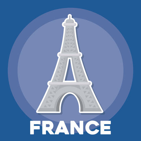 france culture design with eiffel tower icon over blue background, colorful design. vector illustration Illustration