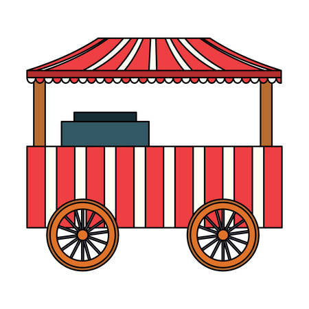 carnival food cart over white background, vector illustration