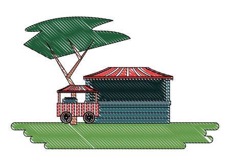 carnival circus design with food cart and ticket store over white background, vector illustration
