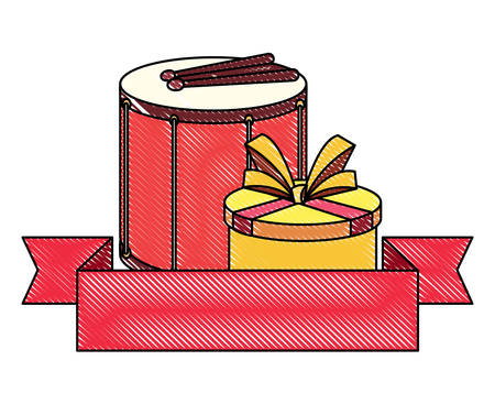 emblem with gift box and drum over white background, vector illustration