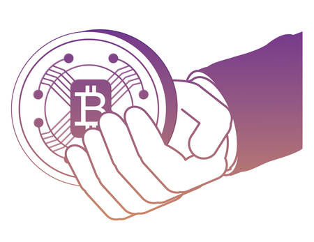 hand with bitcoin coin over white background, vector illustration
