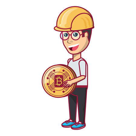 cartoon man with safety helmet and holding a bitcoin coin over white background, vector illustration Çizim