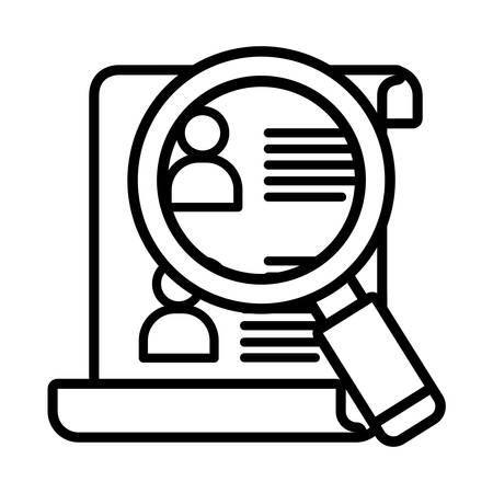 document and magnifying glass over white background, vector illustration