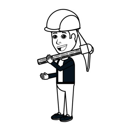 cartoon man holding a pickaxe and wearing a industrial helmet over white background, vector illustration