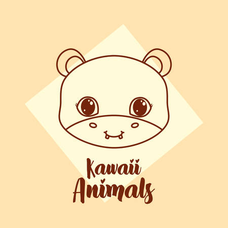 kawaii animals design with cute hipoppotamus icon over yellow background, colorful design. vector illustration