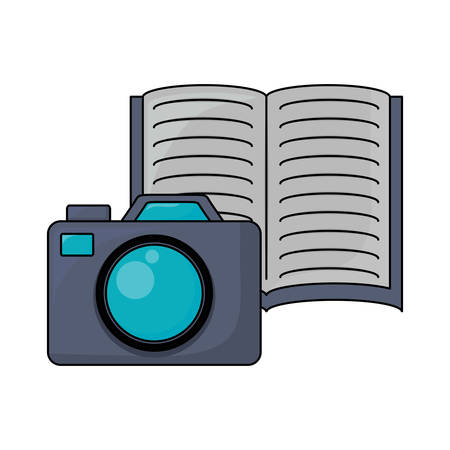 photographic camera and book icon over white background, vector illustration Çizim