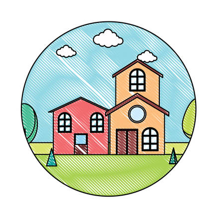 Decorative circular frame with landscape with modern houses over white background, colorful design. vector illustration Vecteurs