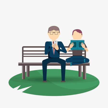 man and businessman reading and sitting on a bench  over white background, colorful design. vector illustration