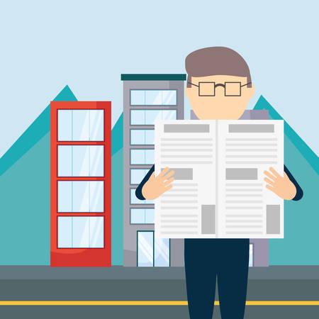Cartoon uomo leggendo un giornale su edifici della città sfondo, design colorato. illustrazione vettoriale Vettoriali