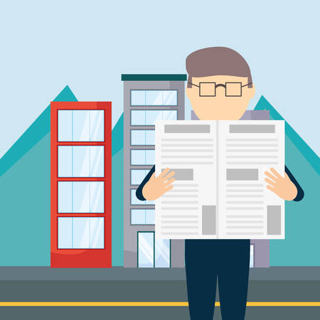 Hombre de dibujos animados leyendo un periódico sobre fondo de edificios de la ciudad, diseño colorido. ilustración vectorial Ilustración de vector