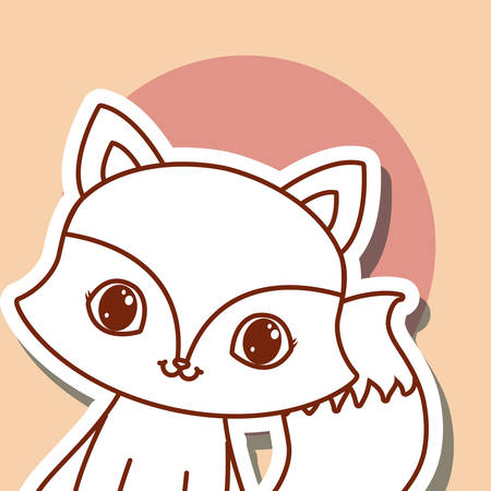 cute animals design with fox icon over orange background, colorful design. vector illustration Vector Illustration