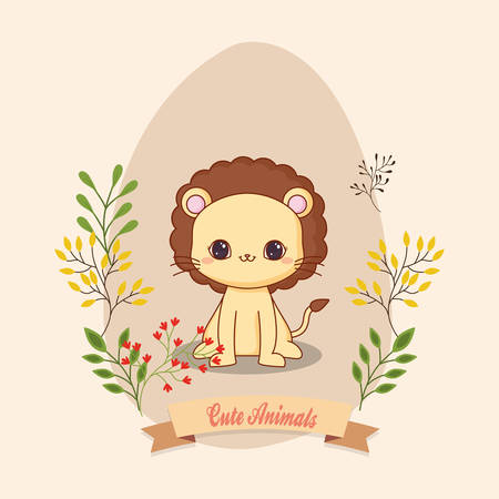 cute icon with decorative leves and floers over brown background, colorful design. vector illustration