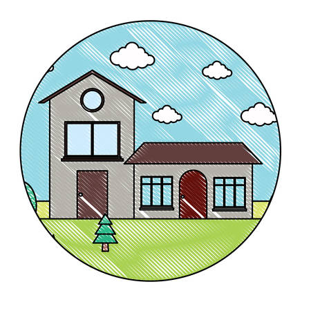 Frame in circle shape with traditional houses in a landscape over white background, colorful design. vector illustration