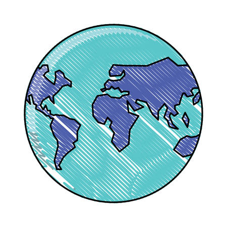 with earth planet over white background, vector illustration