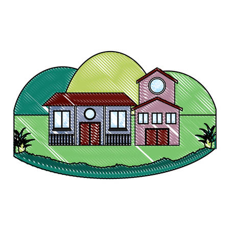 Traditional houses in a landscape over white background, colorful design. vector illustration