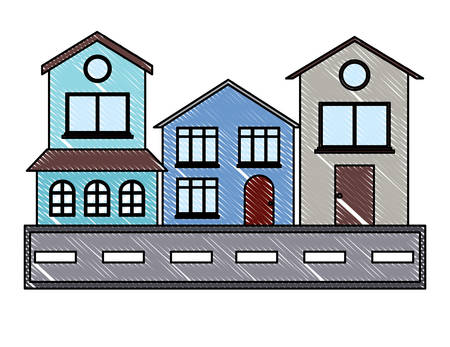 Street with houses over white background, colorful design. vector illustration