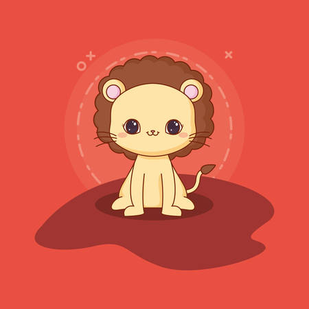 kawaii lion icon over red background, colorful design. vector illustration