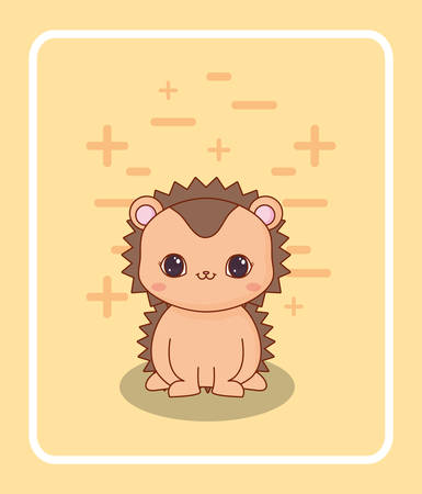 cute porcupine icon over yellow background, colorful design. vector illustration
