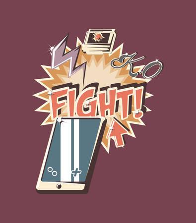 retro videogames design with portable device icon over purple background, colorful design. vector illustration Ilustracje wektorowe