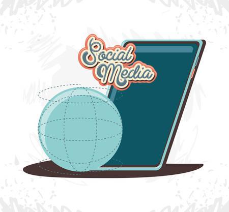 social media marketing with smartphone vector illustration design