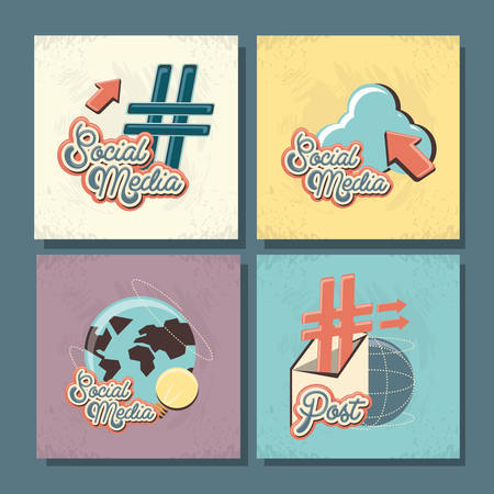 set social media icons vector illustration design Illustration