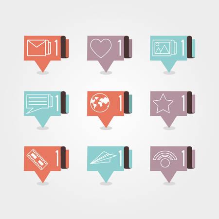 speech bubbles with social media icons vector illustration design