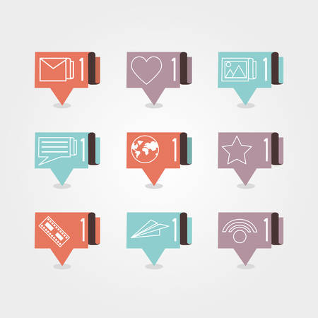 speech bubbles with social media icons vector illustration design