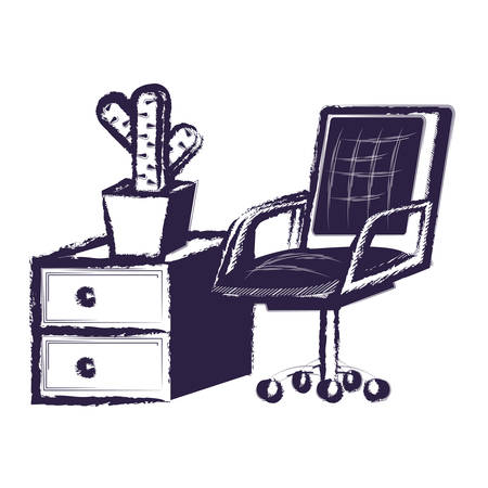 desk chair with drawers with cactus pot over white background, vector illustration
